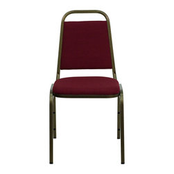 Flash Furniture - Hercules Trapezoidal Back Stacking Banquet Chair with Burgundy Fabric and Gold V - This is one tough chair that will withstand the rigors of time. With a frame that will hold in excess of 500 lbs., the Hercules Series Banquet Chair is one of the strongest banquet chairs on the market.