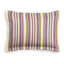 Purple & Green Stripe Custom Sham - The Simple Sham may be basic, but it won't be boring!  Layer these luxurious reversible shams in various styles for a bed you'll want to fall right into. We love it in this purple and green woven stripe that can be as traditional as it is trendy.