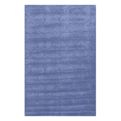 Jaipur Rugs - Jaipur Rugs Handmade Looped & Cut Wool Blue/Solid Area Rug, 2 x 3ft - This collections offers simple modern geometrics in all the fashion colors. Hand loomed in 100% wool each rug make a bold solid color statement to compliment contemporary interiors. The pattern and texture is created through a high/low loop and pile construction.