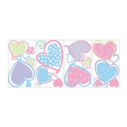 RoomMates Peel & Stick - Hearts Wall Decals - What's better than wearing your heart on your sleeve? Wearing it on your walls! These brightly-colored pastel hearts are wonderful for girls of all ages who need a little love in their room. Each heart is differently patterned, and like all RoomMates is completely removable and repositionable. Use them over and over again wherever you please... On furniture, walls, mirrors and more.