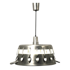 Ecofirstart.com - Marmalade Day Pendant Light - Cozy up your kitchen with this fun eco-chic pendant lamp. The clever use of upcycled spoons and a preserving pan makes for a distinctive lighting option that's also environmentally conscious. Hang it above your kitchen or dining room table for a charming look that combines industrial edge with a dash of whimsy.