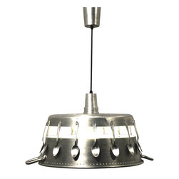 """ecofirstart - """"Marmelade Day"""" - Cozy up your kitchen with this fun eco-chic pendant lamp. The clever use of upcycled spoons and a preserving pan makes for a distinctive lighting option that's also environmentally conscious. Hang it above your kitchen or dining room table for a charming look that combines industrial edge with a dash of whimsy."""