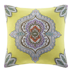 "echo design - Rio Cotton Faux Linen Decorative Pillow - Echo's Rio bedding collection offers a bright bohemian feel to your home with the use of neon yellow and shades of accent blues. This 18x18"" square decorative pillow shares the same eccentric pattern as the top of bed with the main motif as the center of this pillow. Made from cotton faux linen, this decorative pillow includes embroidery details for added value. Features: -Rio collection. -Color: Multi. -Material: 100% Cotton faux linen. -Embroidery details. -Applique. -Poly filling. Dimensions: - 18"" H x 18"" W x 5"" D, 2 lbs."
