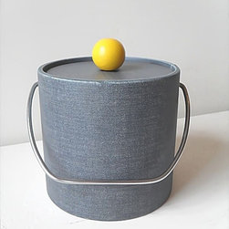 Vintage Ice Bucket from Flying Ace Vintage - Finished in a denim exterior and a topped with a bright yellow handle, this ice bucket is full of whimsy. It's a great piece to mix with an industrial or modern design aesthetic; the dash of kitsch will make it pop in its setting.