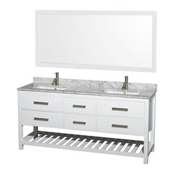 "Wyndham Collection - 72"" Natalie White Double Vanity w/ White Carrera Marble Countertop & Square Sink - Classic yet elegantly modern, the Natalie bathroom vanity is a bold statement and a meaningful centerpiece for any bathroom. Inspired by the contemporary American design ethic and crafted without compromise, these vanities are designed to complement any decor, from traditional to minimalist modern."
