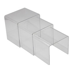 3-Pc. Set of Clear Nesting Tables - See more clearly with the Clear Nesting Tables. Made of rounded acrylic sheets, the three-piece set of tables keeps large and small spaces organized. Invite guests over, then nest the tables together and clear up the space.