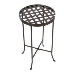 Achla - Wrought Iron Flowers Plant Stand III in Bronz - Made of Wrought Iron. Roman Bronze powder coated. Comes apart for storage. Weight Limit: 30 lbs.. Warranty: 90 days. 14.5 in. L x 14.5 in. W x 24.75 in. H (12 lbs.)Top patterns feature flower-like spaces at center.