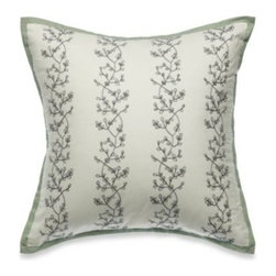 """Laura Ashley - Laura Ashley Tapestry Rose 16-Inch Square Toss Pillow - Dress your bed with the Laura Ashley Tapestry Rose 16"""" Square Toss Pillow for a complete and sophisticated look. With an ivory ground with rose embroidery in blues, the pillow is perfect to throw on your bed for a beautiful floral accent"""
