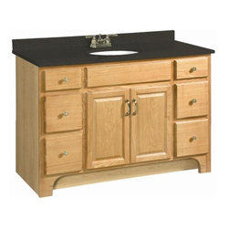 "DHI-Corp - Richland Nutmeg Oak Vanity Cabinet with 2-Doors and 4-Drawers, 48"" by 33.5"" - The Design House 530410 Richland Nutmeg Oak Vanity Cabinet features a nutmeg oak finish with a water resistant seal. This product has a rustic shabby chic design, meshing modern construction with vintage aesthetics. With solid wood door frames and drawer fronts, this 2-door, 4-drawer vanity measures 48-inches by 21-inches by 33.5-inches and is built to withstand years of repeated use. With a country living motif, this vanity graces your home with its bright finish and clean lines. This product is CARB compliant, which means it adheres to the toughest production standards in the world for formaldehyde emissions (in wood composite paneling). The Design House 530410 Richland Nutmeg Oak Vanity Cabinet has a 1-year limited warranty that protects against defects in materials and workmanship. Design House offers products in multiple home decor categories including lighting, ceiling fans, hardware and plumbing products. With years of hands-on experience, Design House understands every aspect of the home decor industry, and devotes itself to providing quality products across the home decor spectrum. Providing value to their customers, Design House uses industry leading merchandising solutions and innovative programs. Design House is committed to providing high quality products for your home improvement projects."