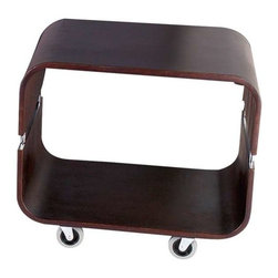 Adesso - Adesso Contour Rolling End Table, Walnut - Rounded cubes in solid bentwood with natural or walnut wood veneer. Each has steel accents and rolls on four casters. 20 in Width,16 in Depth, 18 in Height.