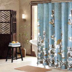 None - Artology Sakura Cotton Shower Curtain - Inspired by the beautiful spring Japanese cherry blossom,the Artology Sakura shower curtain features a white cherry blossom print on a blue ground. Large cherry blossoms cover the curtain in a subtle print.