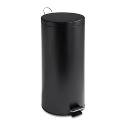 30L Round Black Matte Can With Bucket - Honey-Can-Do TRS-02111 Step Trash Can, Matte Black. A sleek addition to any home or office, this 30L trash can boasts sturdy construction for daily use. The coated steel foot pedal provides hands-free operation to keep germs at bay. An inner buckets keeps bags (optional) from snagging and is easily cleanable. The deep recessed lid, hides trash bags from view. The hand print resistant exterior is easy to clean and features a metal fold down carrying handle.