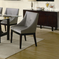 Wildon Home � - Belmont Arm Chair (Set of 2) - Gray microfiber fabric engulfs the cappuccino finished frame of the Alvarado Dining Chair. This durable fabric is comfortable and will last through family dinners, dinner parties, and holiday gatherings for years to come. The shaped chair back along with the fabric offers a comfortable dining experience. The gray fabric color and opposing cappuccino finished frame give the Dining Chair a sophisticated look that will make any dining room a display of style. Features: -Side chair.-Casual style.-Durable microfiber fabric.-Solid wood veneer construction.-Cappuccino finish.-Belmont collection.-Collection: Belmont.-Distressed: No.Dimensions: -Overall Product Weight: 51.7 lbs.