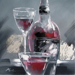Yosemite Home Decor - Wine and Two Glasses II Artwork - Wine & Two Glasses 2 is a beautifully hand painted, cuisine piece that will bring class and tranquility to any room. Its relaxing colors and background with glistening silver throughout it add certain serenity. The wine bottle has many deep reds that blend together wonderfully, as well as the wine in the two glasses. This decorative art is soothing, and when viewing it, you can truly say that the glasses are half full.