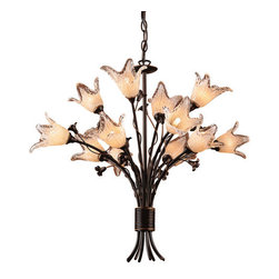 Elk Lighting - Elk Lighting 7959/8+4 12 Light Up Lighting Chandelier from the Fioritura Collect - This botanical bouquet with Italian inspiration is roped neatly to provide rustic tranquility. This collection embodies juxtaposed diversity; forged iron workings in an Aged Bronze finish, offset by soft tulips that are mouth blown and hand tooled.Fioritura Collection 12 Light Chandelier12 G9 Type 40W Max (Included)