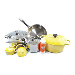 Le Creuset - Le Creuset 11 Piece Cast Iron and Tr-Ply Stainless Steel Set, Soleil Yellow - Combining the most colorful cookware with high-performance stainless steel, this Le Creuset 11 piece cookware set will add beauty and functionality to your kitchen. The included stainless steel pieces are the seven quart covered stockpot, a three quart covered saucepan, and a 10 inch fry pan. Each of the Tri-ply stainless steel pieces have three unique layers: a surgical grade stainless steel interior for safe and stable cooking, a full aluminum core that heats quickly and evenly, and a high-polished, radiant blend of stainless steel that resists discoloration from high heat and is induction ready. The included self-sealing lids lock in moisture and flavor, while a vent releases steam to prevent boiling over. The lids also feature an easy grip, oven safe, removable knob that lets the lid sit perfectly flat so that it can be used as a spoon rest or prep surface. The stay-cool ergonomic handles are designed for increased balance, comfort, and control, and are made with stainless steel rivets. This stainless steel cookware set is perfect making everything from stir-fry to spaghetti and meatballs.