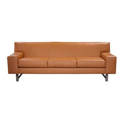 Terri - Mid Century Leather Sofas and Couches Collection - The Sofa Company - Welcome to funky town, starring Terri! This fun modern style is boxy and beautiful. Sometimes the most simple style can be the most striking, and Terri is no exception. Terri is looking hot and ready to hit the town in bold apricot leather.