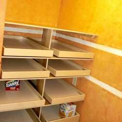 Roll Out Pantry Shelves - Organize your pantry to increase efficiency through better visibility and accessibility.  ShelfGenie of Massachusetts pull out shelves and accessories are all custom made to fit your existing cabinets and closets.