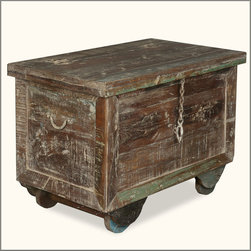 Rustic Reclaimed Wood & Iron Rolling Foot Locker End Table Chest -