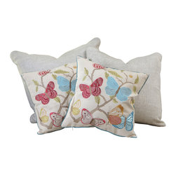 "Great Deal Furniture - 18"" Butterfly Flowers Pillows (Set of 2) - Add contemporary design to your seating area with our decorative pillow sets. Featuring a linen blend cover, you'll find these pillows stylish and comfortable."