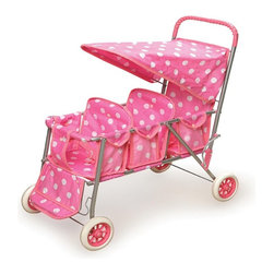 Badger Basket - Badger Basket Pink Polka Dot Triple Doll Stroller - 09924 - Shop for Dolls Clothes and Accessories from Hayneedle.com! Your child will love to take all her favorite dolls out for a nice little stroll with the Badger Basket Pink Polka Dot Triple Doll Stroller. This cute little stroller is the perfect size for little mommies and is ideal for dolls up to 18-inches. It features a large canopy that can be flipped up for easy access and an adjustable footrest for the front seat. The handle has a soft rubber grip while all three seats offer a two-point safety belt to keep dolls safe and secure. The powder coated steel frame folds easily for easy storage and transport. The canopy and seat are made from a bright pink fabric with an adorable white polka dot pattern. A lower basket provides the perfect place for little ones to store accessories or doll clothes. Recommended for children 3 years and older. Some assembly required. Not for real infants or pets. Badger Basket CompanyFor over 65 years Badger Basket Company has been a premier manufacturer of baskets bassinets bassinet bedding changing tables doll furniture hampers toy boxes and more for infants babies and children. Badger Basket Company creates beautiful and comfortable products that are continually updated and refreshed bringing you exciting new styles and fashions that complement the nostalgic and traditional products in the Badger Basket line.