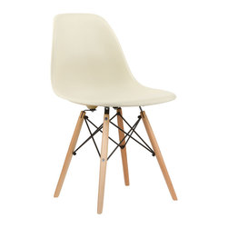 Mid-Century Slope Chair in Cream - Our Mid-Century Slope Chair is an ingenious design inspired by an iconic manufacturing process of the 1950s and 1960s. The original was born out of technological advancements that allowed a chair to be constructed out of a single mold of fiberglass. With the original mold no longer in production, today's designers have improved this process even further, resulting in a comfortable, stylish, lightweight chair. Replacing fiberglass with more eco-friendly polypropylene, the current iteration takes this incredible design and makes it accessible and modern, featuring a smooth polypropylene seat that contours to your body. This chair is also one of our most versatile pieces, fitting in at the dinner table, conference table, or anywhere else you're looking to add some seating.