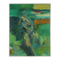 Lost Art Salon - Eye of the Storm Original Oil by Anna Poole, 1997 - Stormy weather never looked so peaceful than in this oil on canvas piece by Anna Poole. The figure strives upward in cool tones of green and blue, creating a tension that will gratify and captivate you.