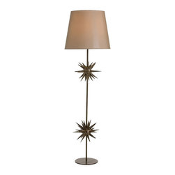 Arteriors - Holt Floor Lamp - The Holt Floor Lamp features two iron starbursts which are powder coated with a specialty finish that causes a change of tone and highlights resulting in a unique, almost green appearance with brass welds. Topped with a taupe sheer fabric shade lined in the same.  Takes 1 - 150 w 3-way bulb.