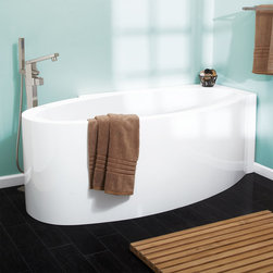 "69"" Rahway Acrylic Freestanding Corner Tub - Featuring unique diagonal positioning, the Rahway Freestanding Acrylic Tub is perfect for a bathroom corner."