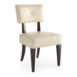 "Bernhardt - Bernhardt ""Jordan"" Upholstered Side Chair - Soft curves in a truffle finish combine with ivory leather for a highly contemporary look. Crafted of select hardwood solids with pomele burl and quartered ribbon-stripe sapele veneer detailing. Ivory leather seat and back. 21""W x 23""D x 36""T. Impo..."