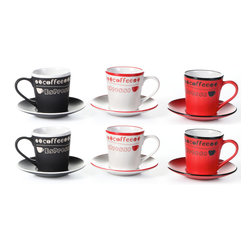 "Concepts Life - Concepts Life Espresso Cup Set  Coffee Talk  Set of 6 - Treat your friends to a delectable cup of espresso in our hand-painted espresso stoneware set. These high-fired ceramic cups are extremely durable and have a great weight to them. The bold colors and 'coffee, espresso' labels will add a bit of zest to your daily morning routine.  12 piece set includes 6 espresso cups and 6 saucers Assorted Colors; 2 Black, 2 Red, 2 White Hand painted ceramic 7 ounce espresso cups - perfect for a double espresso Measures: 3""H X 3"" opening"