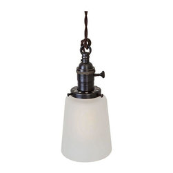 "Used Brass Switch Socket Pendant Light - Frosted Bell - Classic period lighting reimagined - this hand crafted vintage-inspired pendant features quality solid brass hardware and a frosted bell shade.     •  4 1/4"" Diameter x 10"" H (base of shade to top of loop)  •  Solid brass 1"" diameter loop  •  Solid brass knob switch standard medium (E26) base socket  •  Solid brass 2 1/4â€ù shade fitter  •  4 1/4"" Diameter frosted bell glass shade  •  10ft vintage style brown cloth covered twisted cord  •  Antique style brown Bakelite plug (remove for hardwire installation)  •  110-250 Volts - 250 Watt max bulb (not included)  •  All UL Listed components  •  Hand finished ebonized brass patina  •  Handcrafted in Santa Barbara, CA by artisan Hilary Nagler"