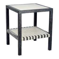 """Palecek - Jeffrey Alan Marks Collection Prestwick Side Table - The Jeffrey Alan Marks Collection Prestwick side table exudes contemporary texture. Framed by rich mahogany woodthe furnishing's leather surface and woven shelf offer luxe sophistication. 20""""W x 20""""D x 24""""H; Available in several finishes and leathers"""