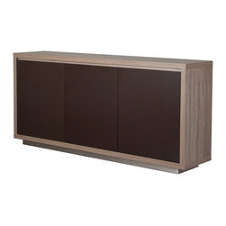 Studio Ash Grey and Brown 3-Door Buffet - Featuring adorable color palette, the Studio Buffet has ash grey finish with contrasting matte brown doors.