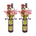 Danya B - Wall Mount Hanging Glass Cylinder Vase - Set of 2 - Set of 2. Wall mount. Decorative accessory made of recycled glass and iron. Glass vases are easily removable for cleaning. For use with natural or artificial flowers. 6.75 in. L x 4.5 in. W x 17 in. H (1.2 lbs)