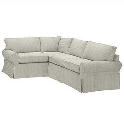 """PB Basic Right 3-Piece Small Sectional Slipcover, Ticking Stripe Harbor Blue - Designed exclusively for our PB Basic Sectional, these easy-care slipcovers have a casual drape, retain their smooth fit, and remove easily for cleaning. Select """"Living Room"""" in our {{link path='http://potterybarn.icovia.com/icovia.aspx' class='popup' width='900' height='700'}}Room Planner{{/link}} to select a configuration that's ideal for your space. This item can also be customized with your choice of over {{link path='pages/popups/fab_leather_popup.html' class='popup' width='720' height='800'}}80 custom fabrics and colors{{/link}}. For details and pricing on custom fabrics, please call us at 1.800.840.3658 or click Live Help. All slipcover fabrics are hand selected for softness, quality and durability. {{link path='pages/popups/sectionalsheet.html' class='popup' width='720' height='800'}}Left-arm or right-arm configuration{{/link}} is determined by the location of the arm on the love seat as you face the piece. This is a special-order item and ships directly from the manufacturer. To view our order and return policy, click on the Shipping Info tab above."""