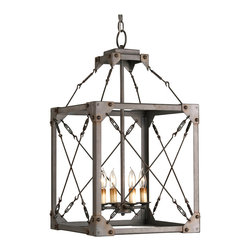 Kathy Kuo Home - Salvage Metal Box Industrial Loft Lantern 4 Light Pendant Fixture - Industrial rustic style lighting just doesn't get any earthier than this wrought iron box style chandelier.  With the look of a found object chandelier, this piece would be right at home in a SoHo loft or even a rustic farmhouse.