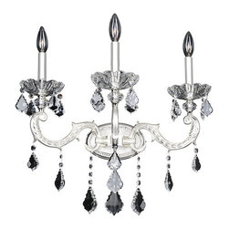 Allegri by Kalco - Casella Two-Tone Silver Three-Light Wall Bracket with Firenze Clear Crystal - - The Casella Collection features modern light fixtures that still highlight traditional elements like acanthus leaves. The stem boasts a Clear Firenze crystal carafe-shaped column and the subtle curves are crowned with Clear and Smoke Fleet Argentine Firenze crystal bobeches. A variety of shade options add touches of personality while Allegri?s Firenze crystals are harmoniously draped and dangled to add sparkle and glamour  - Backplate Dimensions: 7-Inch W x 0.75-Inch H x 4.5-Inch L  - Chain Length: 96-Inch  - Wire Length: 132-Inch  - Bulb is not included  - Crystal Name: Firenze Clear  - Mounting Height: 11.5-Inch Allegri by Kalco - 024720-017-FR001