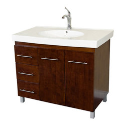 Bellaterra - 39 In Single Sink Vanity - Wood - Walnut  - Left Side Drawers - Satisfy your home design needs with this black finished vanity offering a contemporary smart design with plenty of storage space and traditional features. The modern bathroom vanity is constructed of solid wood. Features include an oversized white ceramic sink and counter-top and modern chrome accents. The style and beauty of the vanity is an exquisite design for a bathroom. Dimension: 39Wx18.9Dx35H * ** * Birch* Black* White Ceramic * White Ceramic Sink*Brush Nickel finish hardware and leg caps* Pre-drilled with 1 hole - One slot faucet, faucet and mirror not included* Slight assembly required. Dimensions: 39.6 in. x 18.9 in.