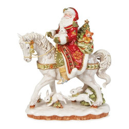 Fitz and Floyd - Fitz and Floyd Damask Santa on a Horse Figurine - 19-608 - Shop for Sets from Hayneedle.com! About Fitz and FloydFitz and Floyd is recognized worldwide as a leader amongst the style- and quality-conscious. For 50 years their unique designs have made them the leader in the purveyor of hand-painted ceramic dinnerware tableware accessories giftware and collectibles. All Fitz and Floyd pieces are easy to spot. Each piece is distinctively hand-crafted by artisans from the drawing board to the sculpting wheel and kiln.The company's Dallas-based studios are renowned for producing over 500 unique designs per year. Creations range from presidential dinnerware for the White House or a tea service for Her Majesty Queen Elizabeth II to the perfect centerpiece for your table and each design is lovingly crafted in the highest quality. Meticulous craftsmanship and exquisite detail make every Fitz and Floyd piece a treasured heirloom-quality gift.