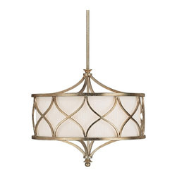 "Lamps Plus - Contemporary Fifth Avenue Collection 3-Light  22"" Wide Pendant Light - Criss crossing patterns of winter gold finished metal surround this pendant light beautifully. The frosted glass diffuser ensures that the proper amount of soft lighting is always emitted. The pleated fabric shade gives it an interesting play on textures. Winter gold finish. Pleated fabric stay straight shade. Takes three 60 watt bulbs (not included). 22"" wide. 61"" high. Includes one 6"" one 12"" and one 18"" down rods.  Winter gold finish.   Pleated fabric stay straight shade.   Takes three 60 watt bulbs (not included).   22"" wide.   61"" high.   Includes one 6"" one 12"" and one 18"" down rods."