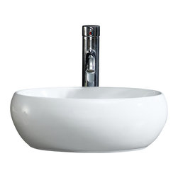 Fine Fixtures - Fine Fixtures White Vitreous China Round Modern Vessel   Sink - Bring added elegance to your bathroom with this Fine Fixtures modern vessel sink.  A welcoming addition to any bathroom or powder room, Constructed of durable and stain resistant vitreous china, this oval sink features sleek beveled sides, its rounded appearance provides it with a modern and fresh look. Its simple yet fashionable design is sure to leave a lofty impression on your bathroom.