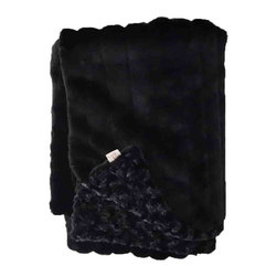 Belle & June - Midnight Lux Minky Throw Blanket - Sometimes all a space needs is a bit of texture to give it that perfect finishing touch. A faux fur decorative throw blanket is a great way to achieve that laid back yet polished look and this solid black version is just fabulous. Made from the softest material we've come across, this sofa throw looks great at the end of a bed, draped over a tufted ottoman or on a chair.