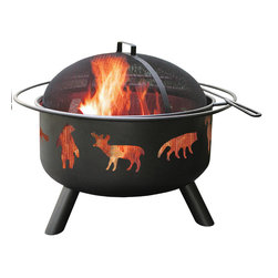 Landmann - Big Sky Wildlife Black Fire Pit - -Sturdy Steel construction designed for easy assembly