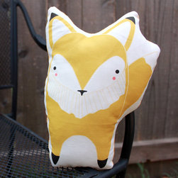 Plush Fox Pillow in Yellow by Gingiber - This little fox pillow is irresistible and looks handsome in yellow!