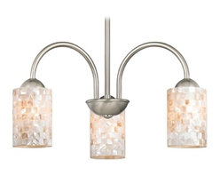 Design Classics Lighting - Chandelier with Mosaic Glass in Satin Nickel Finish - 592-09 GL1026C - Mosaic glass satin nickel 3-light chandelier with cylinder glass shades. Takes (3) 100-watt incandescent A19 bulb(s). Bulb(s) sold separately. UL listed. Dry location rated.