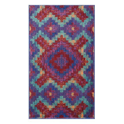 """Loloi Rugs - Loloi Rugs Isabelle Collection - Red / Teal, 2'-2"""" x 5' - Both striking and practical, the boldly colored Isabelle Collection offers a scatter rug power loomed of 100% polypropylene for incredible durability and stain resistance. Ideal for kitchens, entryways, or any room that could use plenty of color. Made in Egypt."""