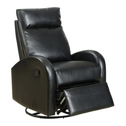 Monarch Specialties - Monarch Specialties 8080BK Swivel Rocker Recliner in Black Leather - This contemporary design accent chair combines 3 functional elements.....it swivels......it rocks.....and it reclines, ensuring that you are always in a comfortable position. This black bonded leather chair with a padded head rest was designed for ultimate comfort. Whether reading a book or watching sports this will be the chair that everyone will want to sit on. The easy glide motion and the contemporary design makes it a chic and fashionable addition for your den, bedroom, living room or basement. It truly is a chair for any room in your home.