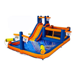 Blast Zone - Blast Zone Pirate Bay Inflatable Water Park - PIRATESBAYPLAYPARK - Shop for Sand and Water Toys from Hayneedle.com! Only the most daring kids are allowed in the Blast Zone Pirate Bay Inflatable Water Park. This fun-filled inflatable combo is in need of a good captain. With dual water cannons starboard crawl tunnel and port side bouncer the excitement never stops. Brave young pirates will have a blast drenching scalawags splashing unsuspecting maties and sliding into the lagoon at the bottom. Ahoy there young buccaneers! Your parents will love Pirate Bay as much as you. With protective netting an oversized splash area and commercial-grade vinyl bounce floor this big park was designed with safety and durability in mind. Built-in flow restriction helps to minimize water wastage while keeping kids cool on hot summer days and reinforcements at stress areas ensure that this play-worthy vessel will have a long and active life. Features: Overall Dimensions: 20W x 12D x 8H feet Bounce Floor: 8W x 8D feet Recommended Ages: 3 and up Inflate Time: Less than 2 minutes This incredible set comes complete with the inflatable unit UL-approved blower storage bag sprayer system and stakes for both the blower and bouncer. When not in use the inflatable conveniently rolls up requiring about as much space as a medium to large sleeping bag. To set up your bouncer simply unroll it. Hook the inflation tube to the blower turn the latter on and stake the inflatable down. The blower is designed to run continuously while children play. Air escapes through the seams and fabric. This bouncer is suitable for residential use. Lead-free products: A note from Blast ZoneRecent allegations by the state of California against producers and distributors of inflatable bounce products concerning illegal lead concentrations are of great concern to us and our customers. Blast Zone products are not included in these allegations. All Blast Zone products meet or exceed US and international laws and standards and contain no lead in the material printing substrate or any components whatsoever. Blast Zone diligently adheres to testing standards to ensure a safe product for the consumer and provides items retailers can be confident stocking and selling. While Blast Zone does produce commercial inflatables and Blast Zone residential products utilize a substantial amount of commercial-grade materials our commercial vinyl also meets or exceeds these same international standards for lead phthalates and other contaminants and heavy metals. Why Blast Zone?With their main focus on safety Blast zone manufactures the strongest bouncers in the industry and creates the most exciting designs available. Using 100% commercial-grade impact surfaces the material used in Blast Zone's bouncers is nine times stronger than what's used on average inflatables. Bounce floors and slides use large seamless commercial material so they have fewer seams with less chance of separation. Blast Zone bouncers are reinforced in stress areas to make them twice as durable as typical inflatables and they use X-Weave material with extremely high tensile strength in all directions. Each Blast Zone inflatable is inspected seven times during construction to ensure it meets the strictest quality and safety standards. Their safety netting is twice as thick as the industry standard and soft so it won't scratch or cut bouncers. Each Blast Zone product is designed with your child's safety in mind. They incorporate balanced product distribution safe climbing surfaces safe slide heights and more. Finally they provide breathable storage cases. Blast Zone's carrying cases allow moisture to dissipate from inflatables rather than keeping it locked inside leading to mildew. About Blast ZoneBlast Zone has been making safe toys for kids all over the world since 1996. For over a decade they've designed and manufactured compliant hazard-free toys for major licensors and retailers including Disney Warner Brothers Dreamworks Marvel Porchlight Entertainment and more. The same principles of quality and safety that have applied to their toys also apply to Blast Zone inflatables. The mission of Blast Zone inflatables is simple: provide safe fun affordable inflatables and make kids dreams come true.