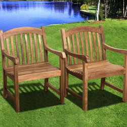 International Home Miami - Amazonia Teak Newcastle Patio Armchairs - Crafted of environmentally friendly teak wood  this set of two classic armchairs brings a rugged outdoor aesthetic to any patio  dining room  or transitional space. Treated with weather-resilient preservative  these chairs won't fade  rot  or crack from exposure to inclement weather  so you can count on their calm  relaxed style season after season of use.